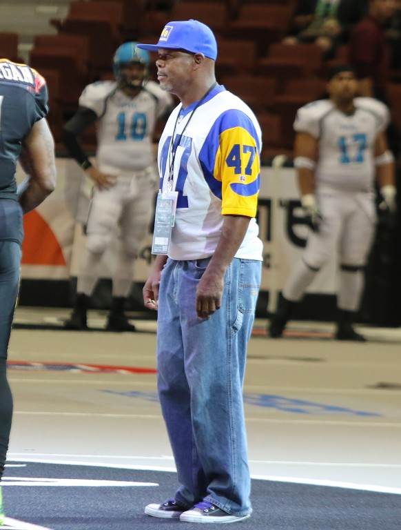 Former Ram defensive back Leroy Irvin was on hand for the coin flip. (Photo by Duane Barker)