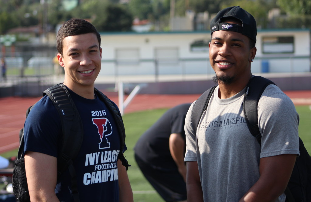 Former Wildcats Mason Bryant (left ) (Penn) and Anthony Craft (Azusa Pacific) renewed old acquaintances