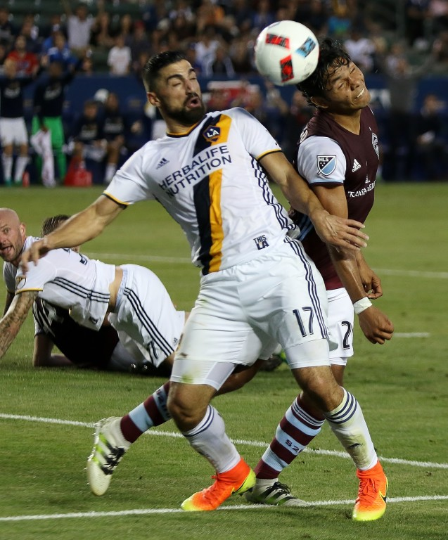 Sebastian Lletget and the Galaxy battle Colorado to a 0-0 draw. (Photo by Duane Barker)