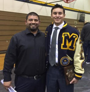 Peter Gonzalez, (left)shown here with Montebello QB Ryan Rivera, is the OC at Montebello
