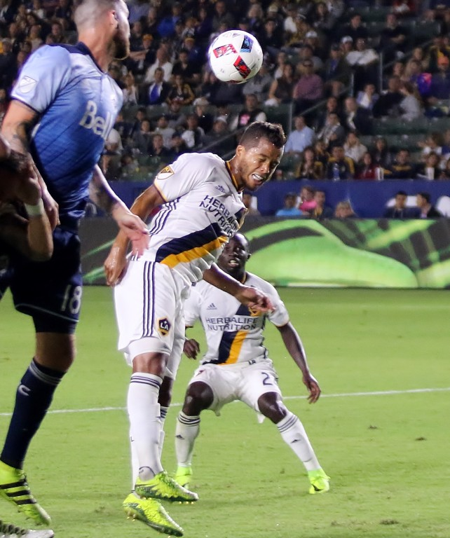 Giovani Dos Santos can get his head on this cross in the second half. (Photo by Duane Barker)