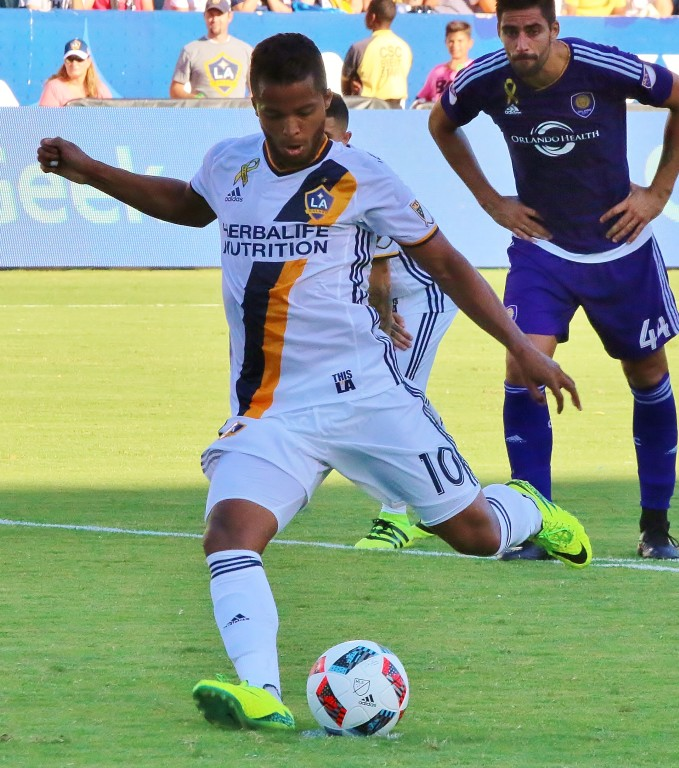 Gionvani dos Santos scores on a penalty kick for his second straight brace! (Photo by Duane Barker)