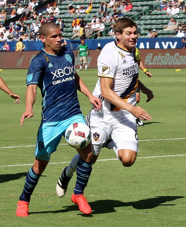 Steven Gerrard draws the penalty that lead to the Galaxy's second goal. (Photo by Duane Barker)
