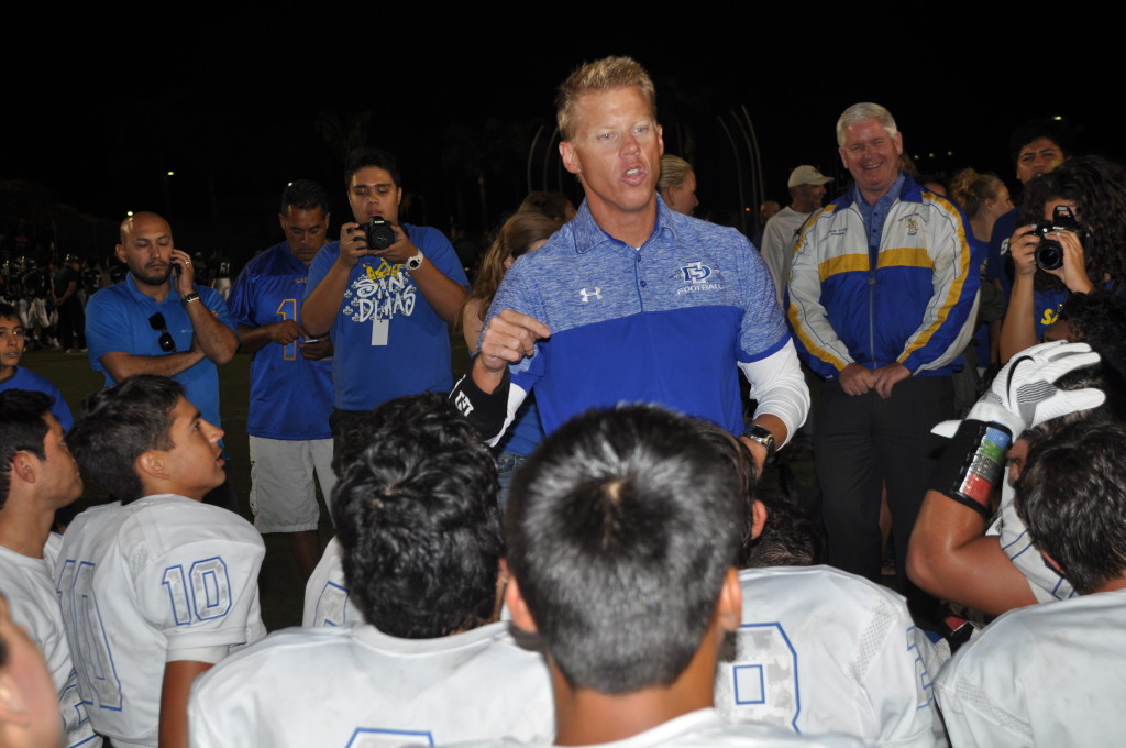 San Dimas HC, Mark Holman telling his troops they have to beat Northview. (Photo by Joe T.)