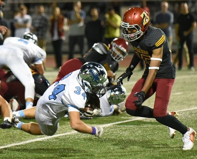 Joe Suh blasts into the end zone for CV (Photo by Phil Sutphin)