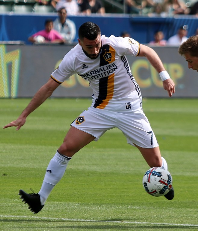 Roman Alessandrini was solid in his Galaxy regular season debut. (Photo by Duane Barker)