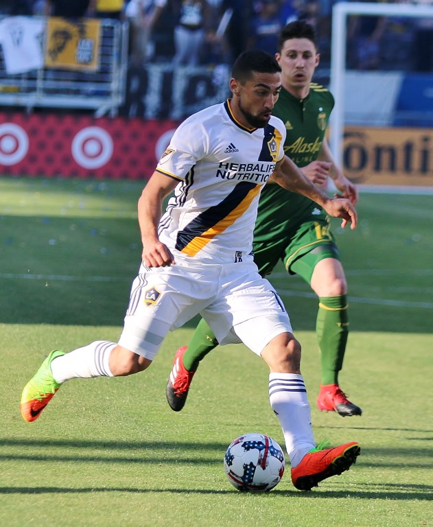 Sebastian Lletget was all over the field for the Galaxy in the loss to Portland. (Photo by Duane Barker)